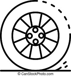 Car wheel icon, outline style