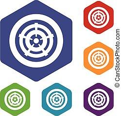 Car wheel icons set