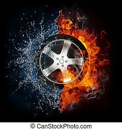 Car Wheel in Flame and Water - Car Wheel in Fire and Water...