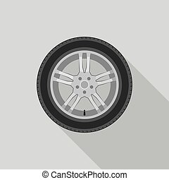 Car wheel in flat style with long shadow.