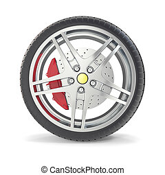 Car wheel isolated on white background. 3d illustration