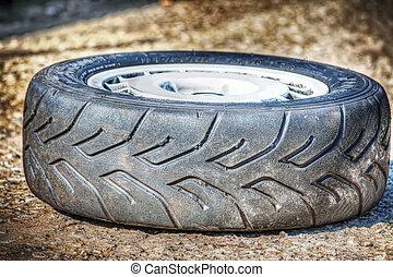 car wheel on the ground