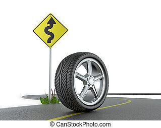 Car wheel on the show with road sign on a white background.