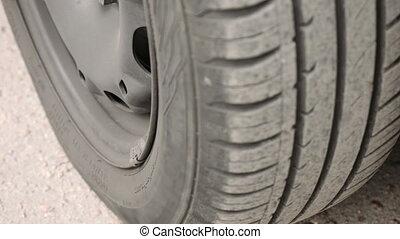 Car wheel parts - Close-up of car wheel parts - tire, rim....