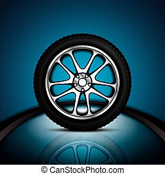 Car wheel - Realistic car wheel with shining rim.Vector...