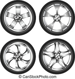 Car wheel set - Realistic car wheel set