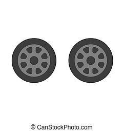 Car wheel, set. Vector illustration on a white background.