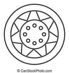 Car wheel thin line icon. Automobile tire vector illustration isolated on white. Car part outline style design, designed for web and app. Eps 10.