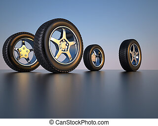 Car wheel tire - 3d illustration of four car wheel tire