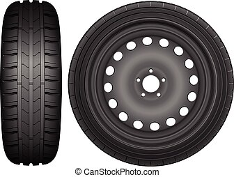Car wheel tire - Car wheel rim tire on a white background.