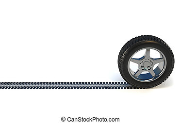 Car wheel tire - 3d render illustration of a car wheel...