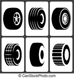 Car wheel tire icons set
