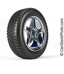 Car wheel tire over white background - 3d render