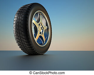 Car wheel tire - 3d illustration of car wheel tire on blue...