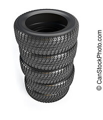 Car wheel tire - Stack of five car wheel tire - 3d rendered...