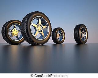 Car wheel tire - 3d illustration of four car wheel tire