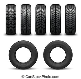 Car wheel tires or tyres 3d vector. Spare parts - Car tires...