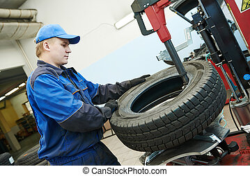 car wheel tyre fitting or replacement