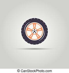 Car wheel vector colored symbol