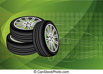 Car wheel. Vector Illustration EPS 10.