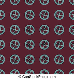 Car wheel vector illustration on a seamless pattern background
