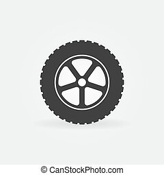 Car wheel vector minimal icon