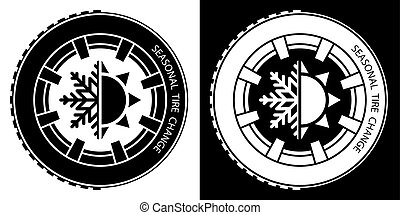 car wheel with a tire with winter and summer tread. Winter ...