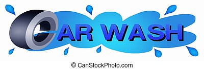 """A Tire and Blue Color of Word """"Car Wash"""" on Water Drop Background"""
