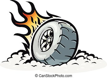 Car wheel with burning fire