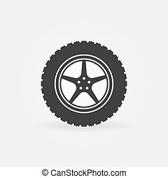 Car wheel with disc vector concept icon