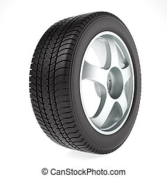 Car wheel with light alloy rim and winter tire on white background