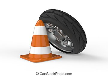 Car wheel with traffic cone 3D rendering