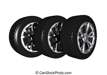 Car Wheels 3D Illustration Isolated on White. Car Wheels...