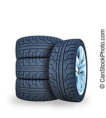 car wheels 3d illustration