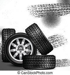 Car wheels and tire tracks grange on white, vector...