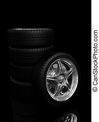 Car wheels - car wheels with steel rims over the black...