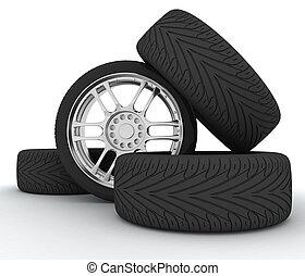 Car Wheels. Concept design. 3D render Illustration on White Background.