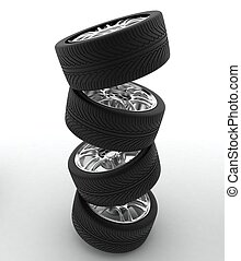 Car Wheels. Concept design. 3D render Illustration on White...