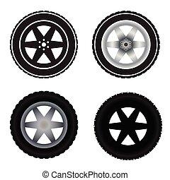 Car wheels different colors