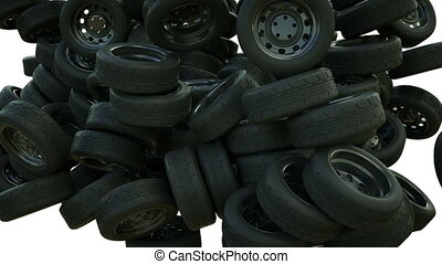 Car wheels falling down with slowmo