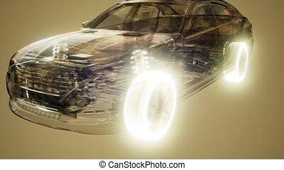 Car Wheels Glowing in Car - car wheels glowing visible in...