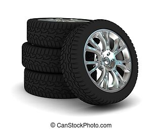 Car Wheels Isolated on White Background