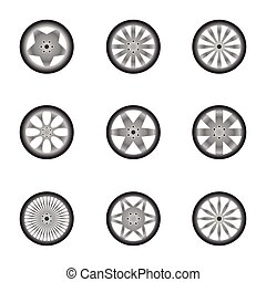 Car wheels isolated on white