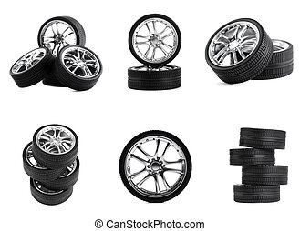 Car wheels on white background. Set