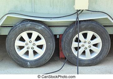 Car wheels.