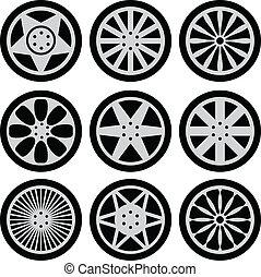 Car wheels - Set of nine black wheels silhouettes