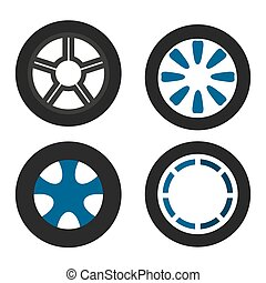 Car wheels set on white background. Vector illustration. EPS 10.