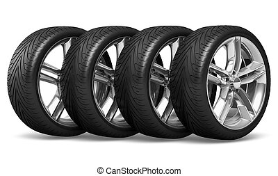 Car wheels set - Set of four car wheels isolated on white...