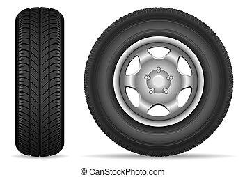 Car wheels vector set