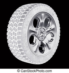 Car wheels with a titanium disk on a black background